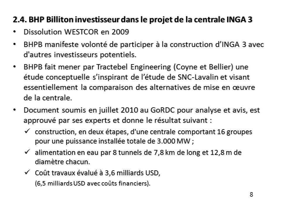 2.4. BHP Billiton investisseur dans le projet de la centrale INGA 32.4. BHP Billiton investisseur dans le projet de la centrale INGA 3 Dissolution WES