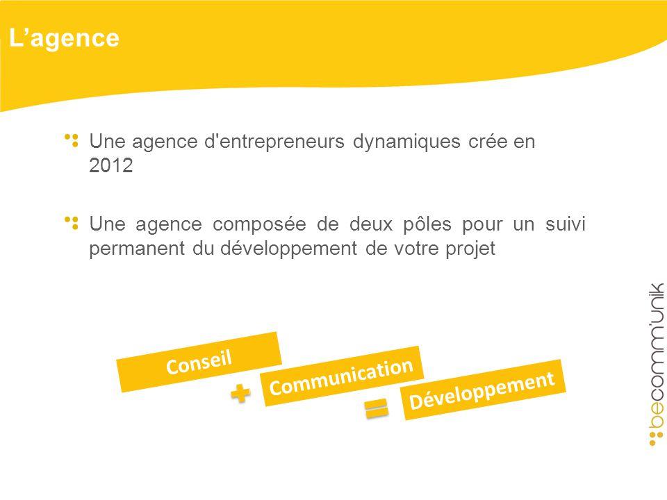 Lagence Une agence d entrepreneurs dynamiques crée en 2012 Une agence composée de deux pôles pour un suivi permanent du développement de votre projet Communication Développement Conseil