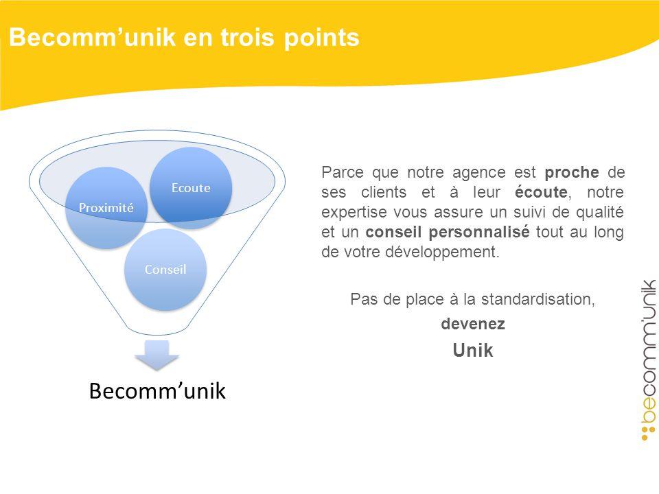 Becommunik en trois points Becommunik ConseilProximitéEcoute Parce que notre agence est proche de ses clients et à leur écoute, notre expertise vous assure un suivi de qualité et un conseil personnalisé tout au long de votre développement.