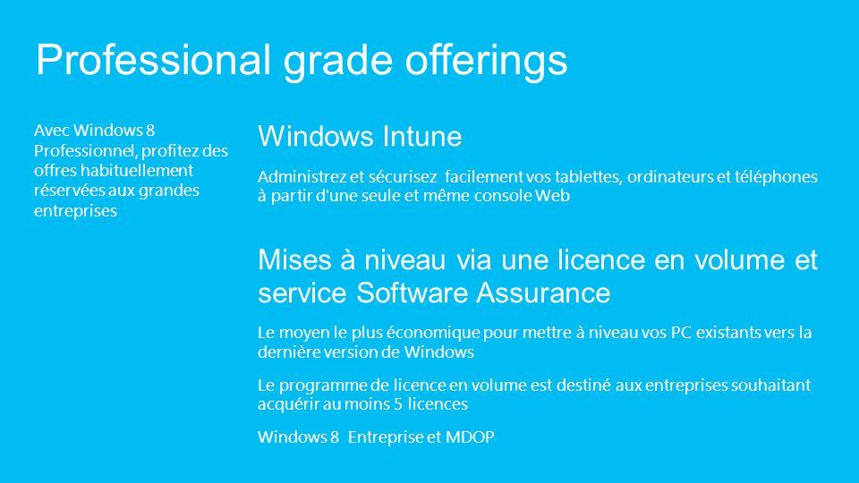 Avec Windows 8 Professionnel, profitez des offres habituellement réservées aux grandes entreprises Professional grade offerings Windows Intune Adminis