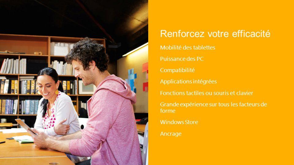 Renforcez votre efficacité Mobilité des tablettes Puissance des PC Compatibilité Applications intégrées Fonctions tactiles ou souris et clavier Grande expérience sur tous les facteurs de forme Windows Store Ancrage