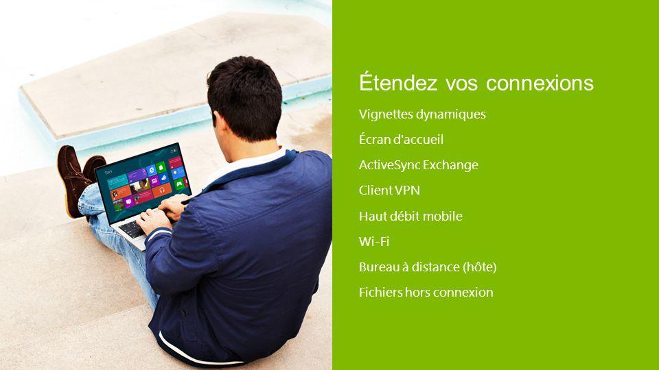 Étendez vos connexions Vignettes dynamiques Écran d'accueil ActiveSync Exchange Client VPN Haut débit mobile Wi-Fi Bureau à distance (hôte) Fichiers h