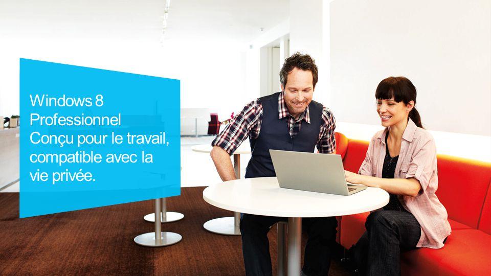 Windows 8 Professionnel : conçu pour le travail, compatible avec la vie privée.