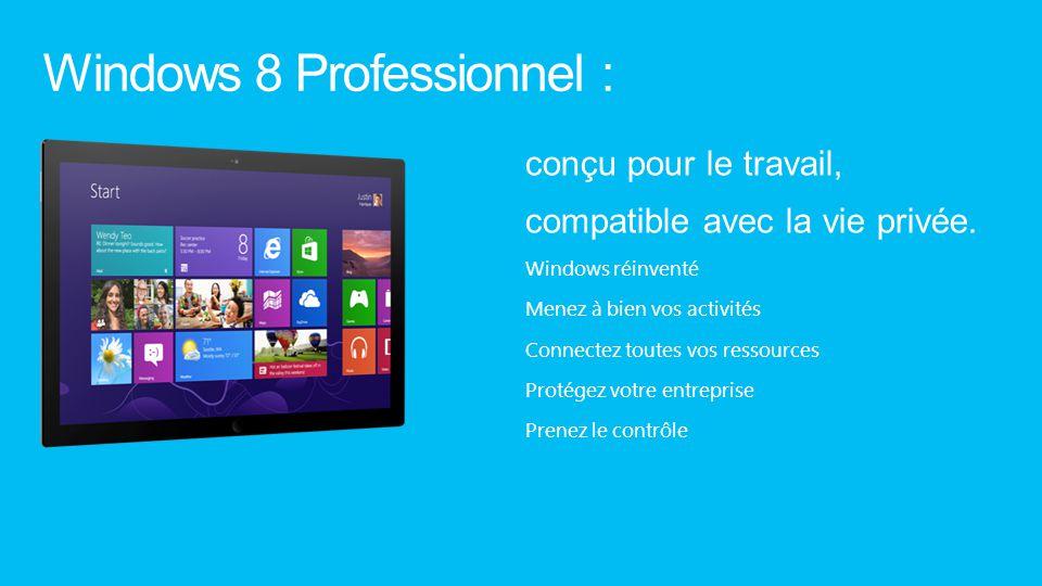Windows 8 Professionnel : conçu pour le travail, compatible avec la vie privée. Windows réinventé Menez à bien vos activités Connectez toutes vos ress