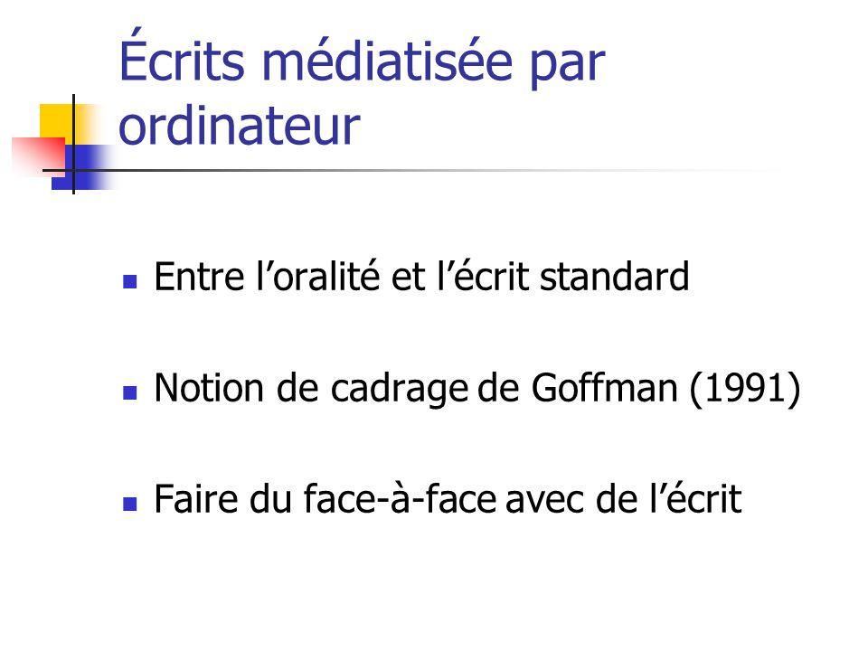 Écrits médiatisée par ordinateur Entre loralité et lécrit standard Notion de cadrage de Goffman (1991) Faire du face-à-face avec de lécrit