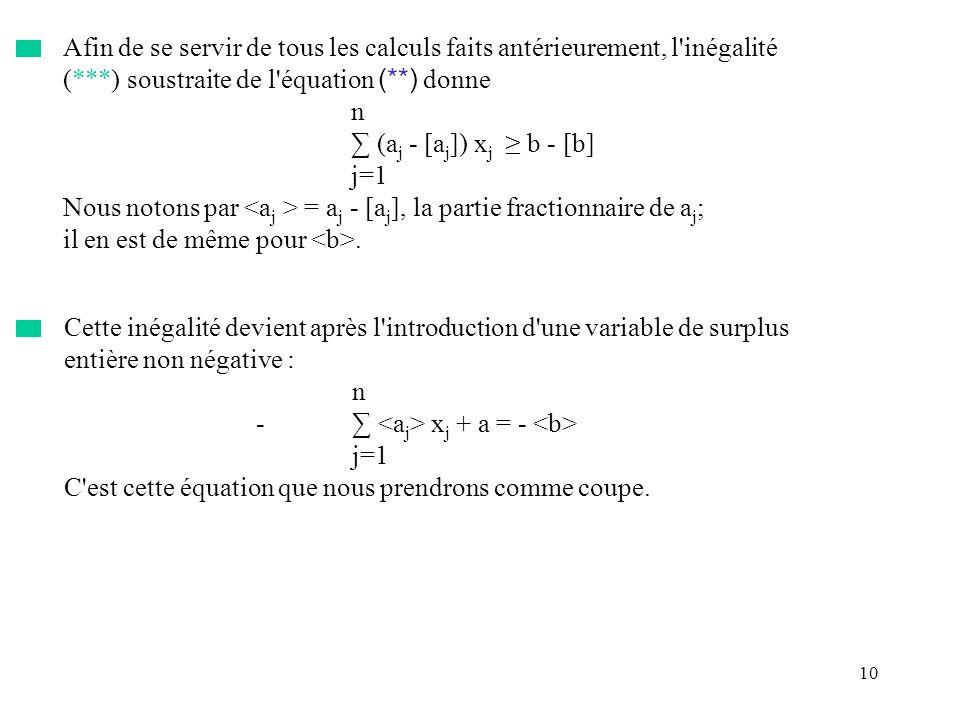 10 Afin de se servir de tous les calculs faits antérieurement, l'inégalité (***) soustraite de l'équation (**) donne n (a j - [a j ]) x j b - [b] j=1