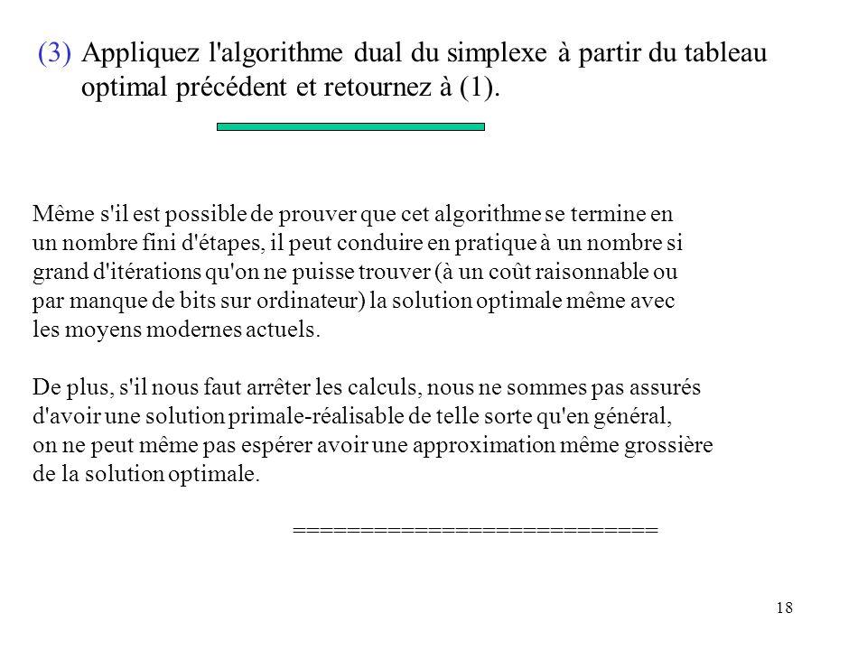 18 (3)Appliquez l'algorithme dual du simplexe à partir du tableau optimal précédent et retournez à (1). Même s'il est possible de prouver que cet algo
