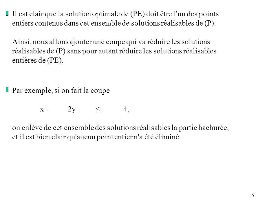 6 On forme donc le programme linéaire (PE1): Max z =x + 3y 10x +18y 45, 6x +7y 21 x +2y 4 x,y0, entiers qui donne, en oubliant les contraintes d intégrité, comme solution optimale: x = 0, y = 2 et zmax = 6 et vu qu elle est entière, c est aussi la solution optimale de (PE).