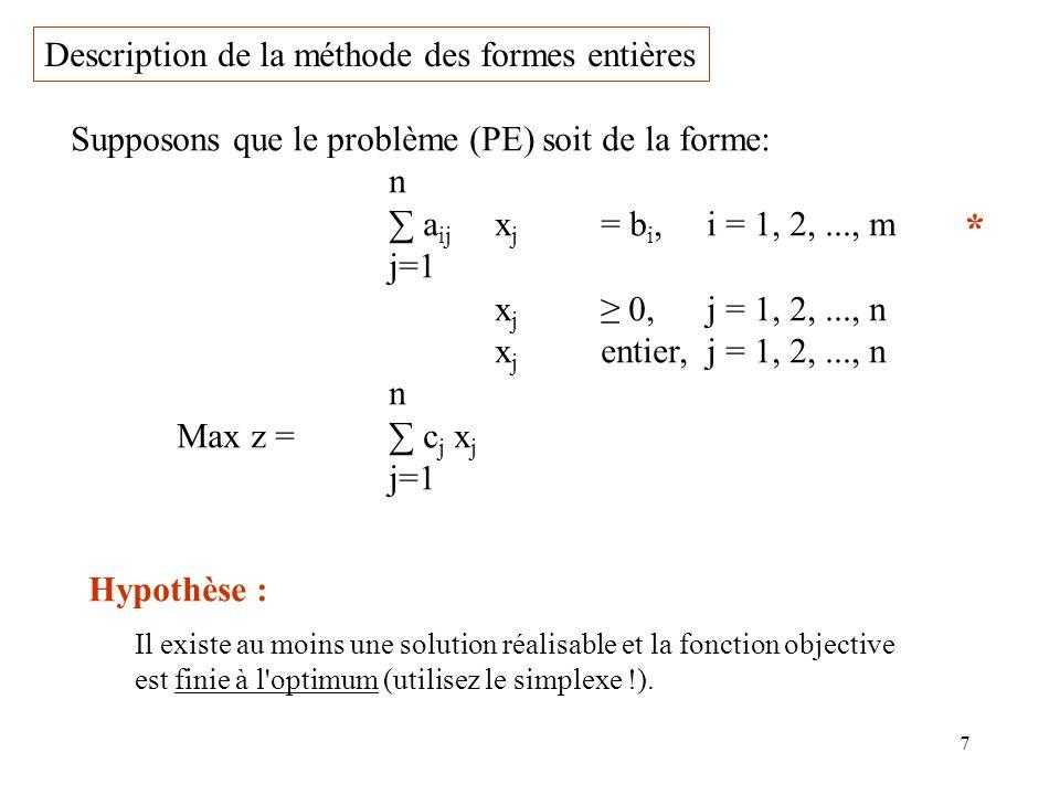 7 Description de la méthode des formes entières Supposons que le problème (PE) soit de la forme: n a ij x j = b i,i = 1, 2,..., m j=1 x j 0,j = 1, 2,.
