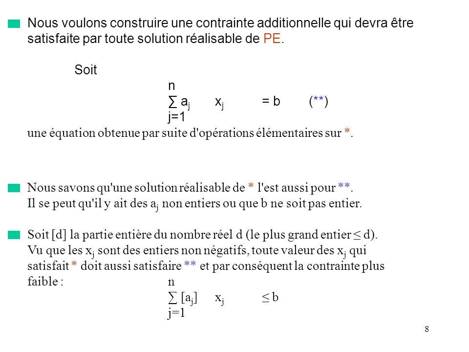 9 Mais le terme de gauche de celle-ci doit être entier et donc on a certainement la contrainte: n [a j ]x j [b](***) j=1 qui est vérifiée par l ensemble des solutions réalisables de (PE).
