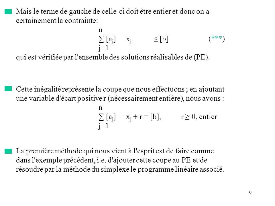 9 Mais le terme de gauche de celle-ci doit être entier et donc on a certainement la contrainte: n [a j ]x j [b](***) j=1 qui est vérifiée par l'ensemb