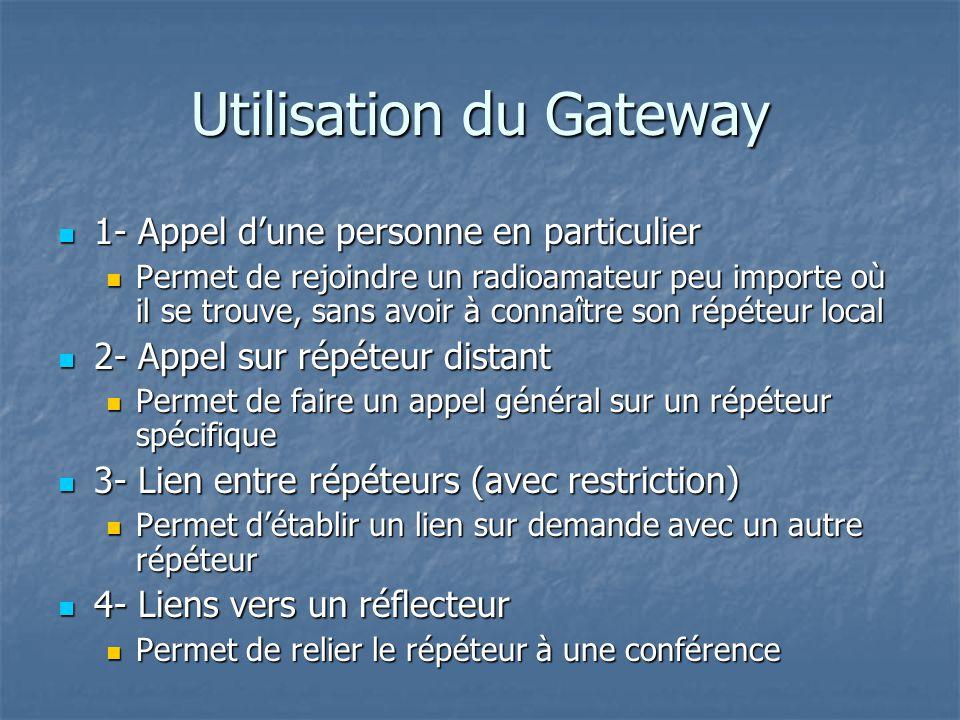 Utilisation du Gateway 1- Appel dune personne en particulier 1- Appel dune personne en particulier Permet de rejoindre un radioamateur peu importe où