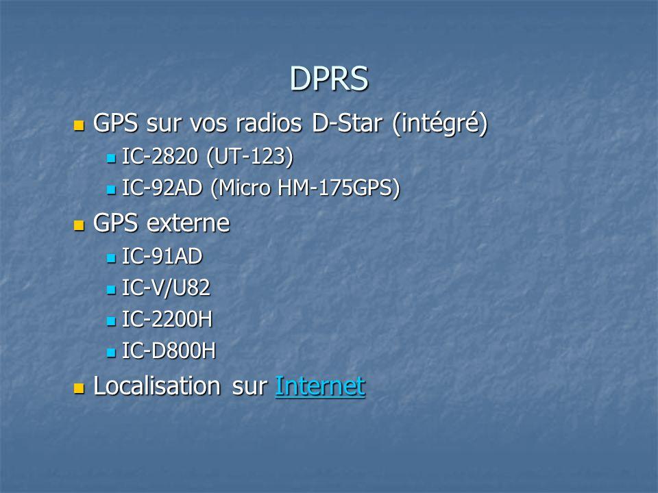 DPRS GPS sur vos radios D-Star (intégré) GPS sur vos radios D-Star (intégré) IC-2820 (UT-123) IC-2820 (UT-123) IC-92AD (Micro HM-175GPS) IC-92AD (Micro HM-175GPS) GPS externe GPS externe IC-91AD IC-91AD IC-V/U82 IC-V/U82 IC-2200H IC-2200H IC-D800H IC-D800H Localisation sur Internet Localisation sur InternetInternet