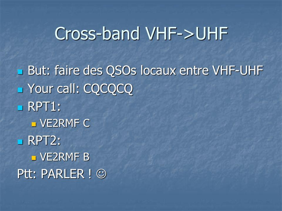 Cross-band UHF->VHF But: faire des QSOs locaux entre UHF-VHF But: faire des QSOs locaux entre UHF-VHF Your call: CQCQCQ Your call: CQCQCQ RPT1: RPT1: VE2RMF B VE2RMF B RPT2: RPT2: VE2RMF C VE2RMF C Ptt: PARLER .