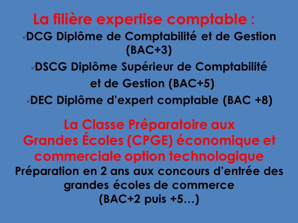 La filière expertise comptable : DCG Diplôme de Comptabilité et de Gestion (BAC+3) DSCG Diplôme Supérieur de Comptabilité et de Gestion (BAC+5) DEC Diplôme dexpert comptable (BAC +8) La Classe Préparatoire aux Grandes Écoles (CPGE) économique et commerciale option technologique Préparation en 2 ans aux concours dentrée des grandes écoles de commerce (BAC+2 puis +5…)