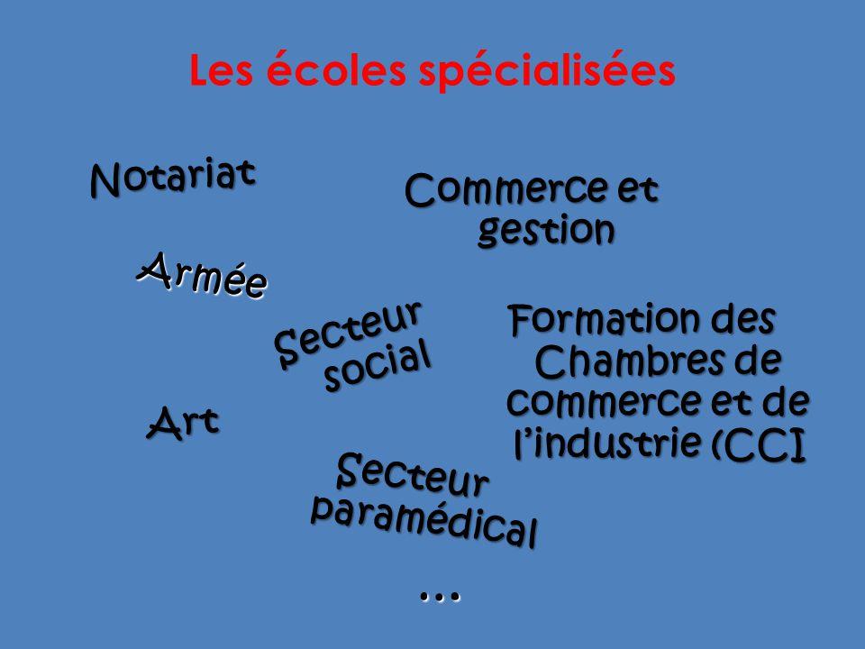 Les écoles spécialisées Art Commerce et gestion Armée Secteur paramédical Notariat Secteur social Formation des Chambres de commerce et de lindustrie