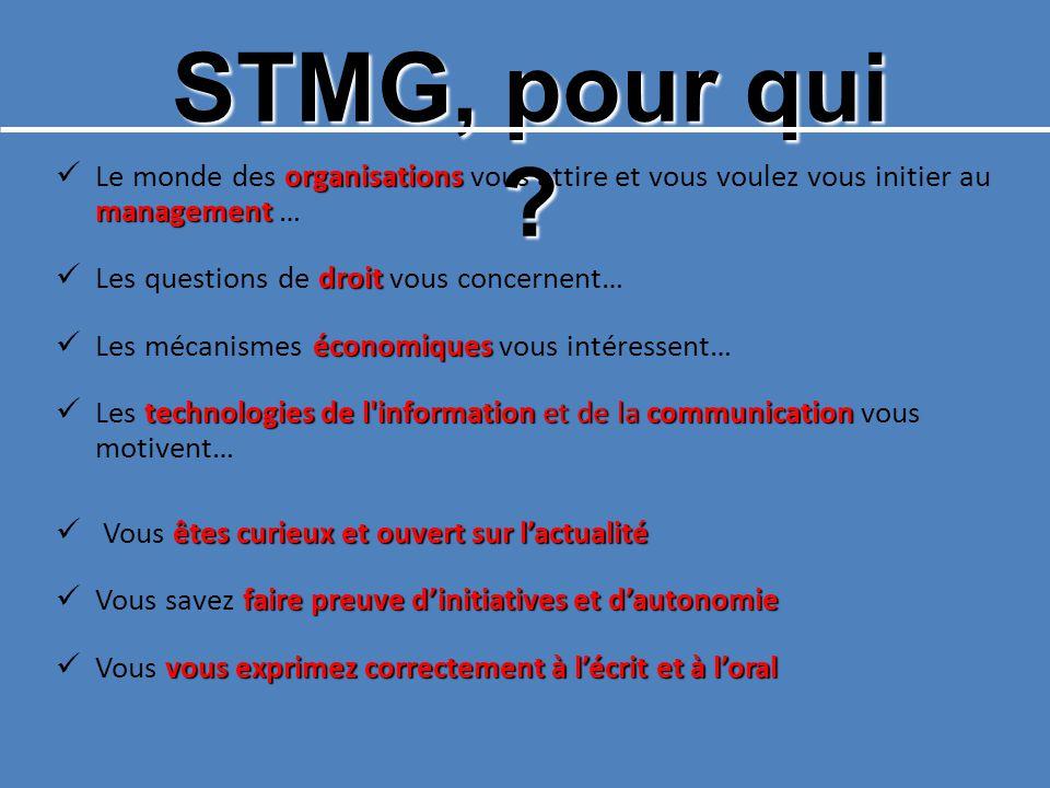 STMG, pour qui ? organisations management Le monde des organisations vous attire et vous voulez vous initier au management … droit Les questions de dr
