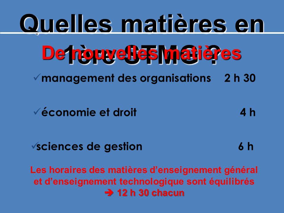 Quelles matières en 1ère STMG ? De nouvelles matières management des organisations2 h 30 économie et droit 4 h sciences de gestion 6 h Les horaires de