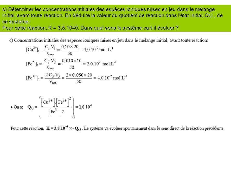 c) Déterminer les concentrations initiales des espèces ioniques mises en jeu dans le mélange initial, avant toute réaction. En déduire la valeur du qu
