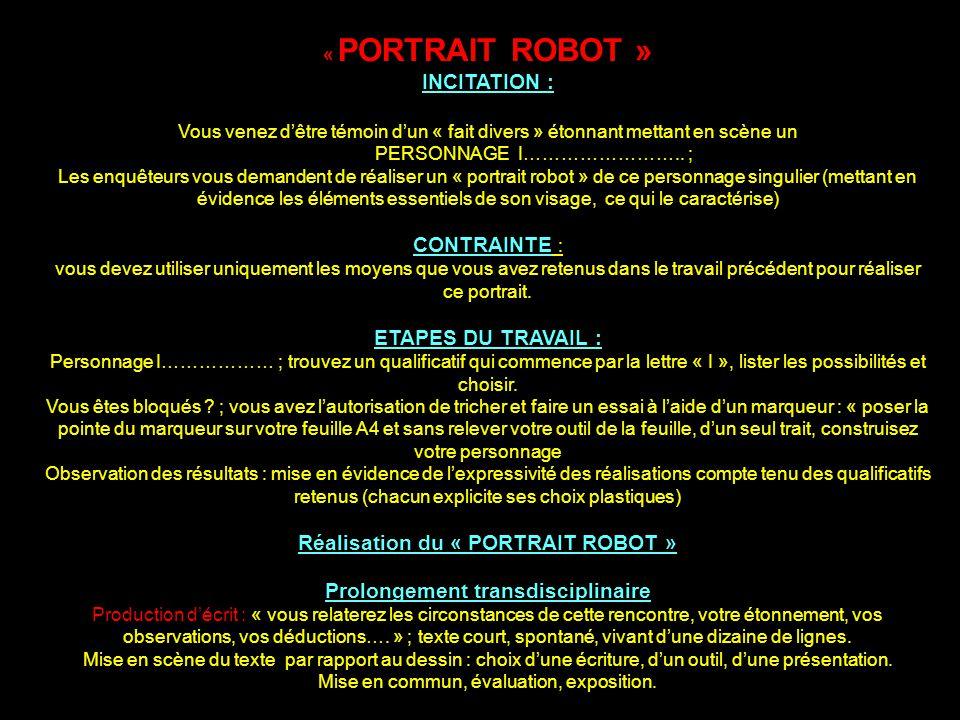 « PORTRAIT ROBOT » INCITATION : Vous venez dêtre témoin dun « fait divers » étonnant mettant en scène un PERSONNAGE I…………………….. ; Les enquêteurs vous