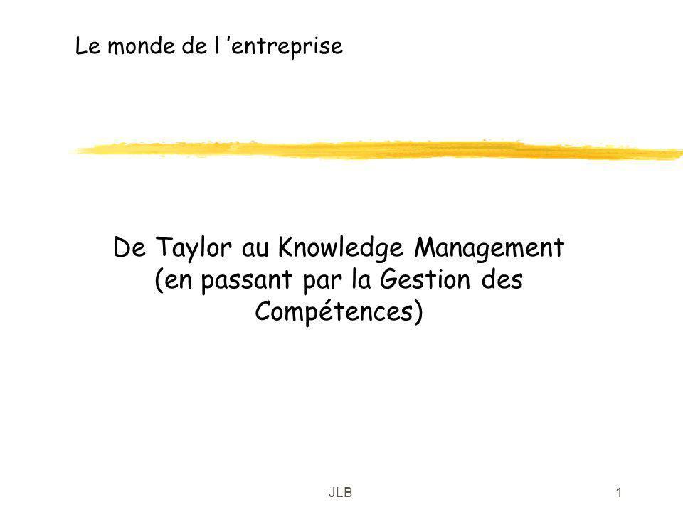 JLB1 Le monde de l entreprise De Taylor au Knowledge Management (en passant par la Gestion des Compétences)