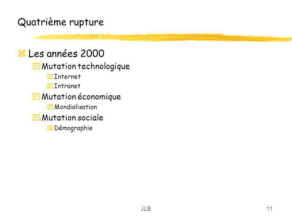 JLB11 Quatrième rupture zLes années 2000 yMutation technologique xInternet xIntranet yMutation économique xMondialisation yMutation sociale xDémograph