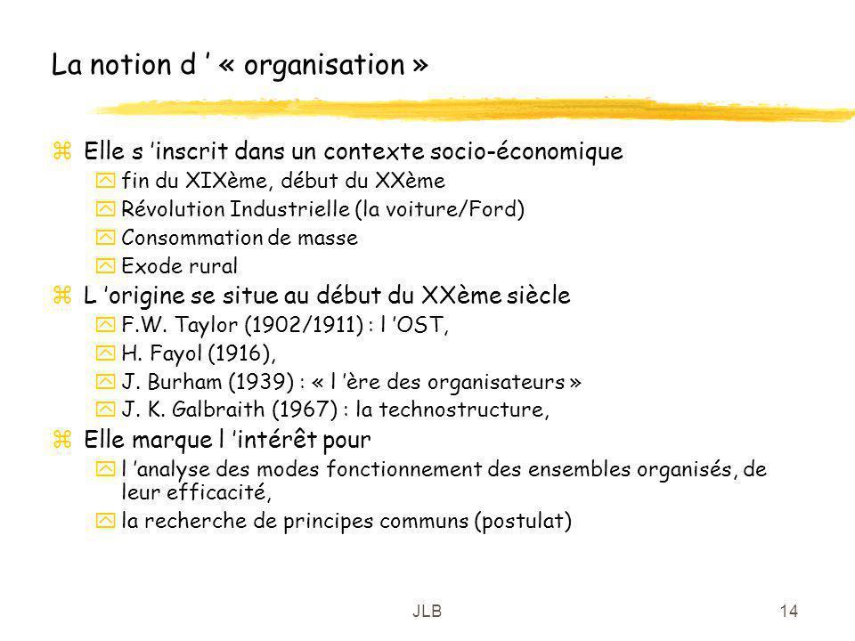 JLB14 La notion d « organisation » zElle s inscrit dans un contexte socio-économique yfin du XIXème, début du XXème yRévolution Industrielle (la voitu