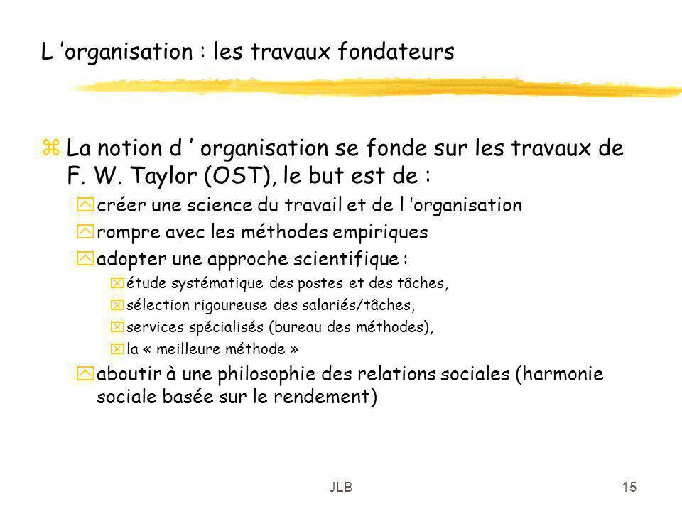 JLB15 L organisation : les travaux fondateurs zLa notion d organisation se fonde sur les travaux de F. W. Taylor (OST), le but est de : ycréer une sci