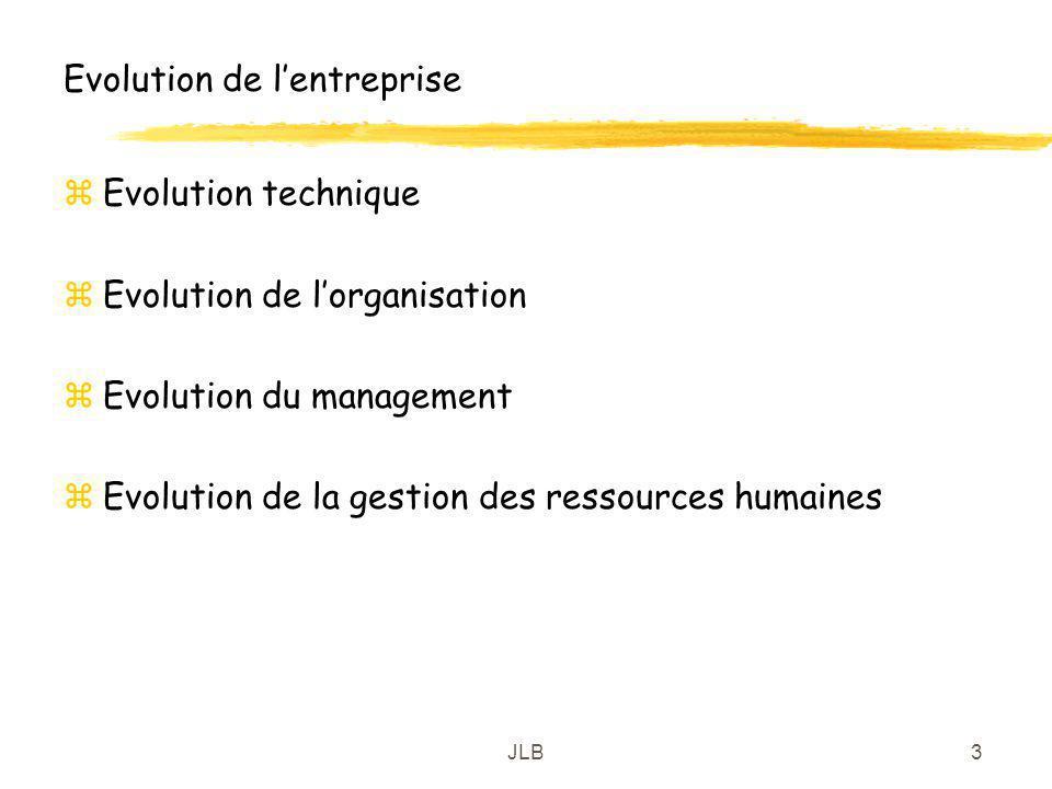 JLB3 Evolution de lentreprise zEvolution technique zEvolution de lorganisation zEvolution du management zEvolution de la gestion des ressources humain
