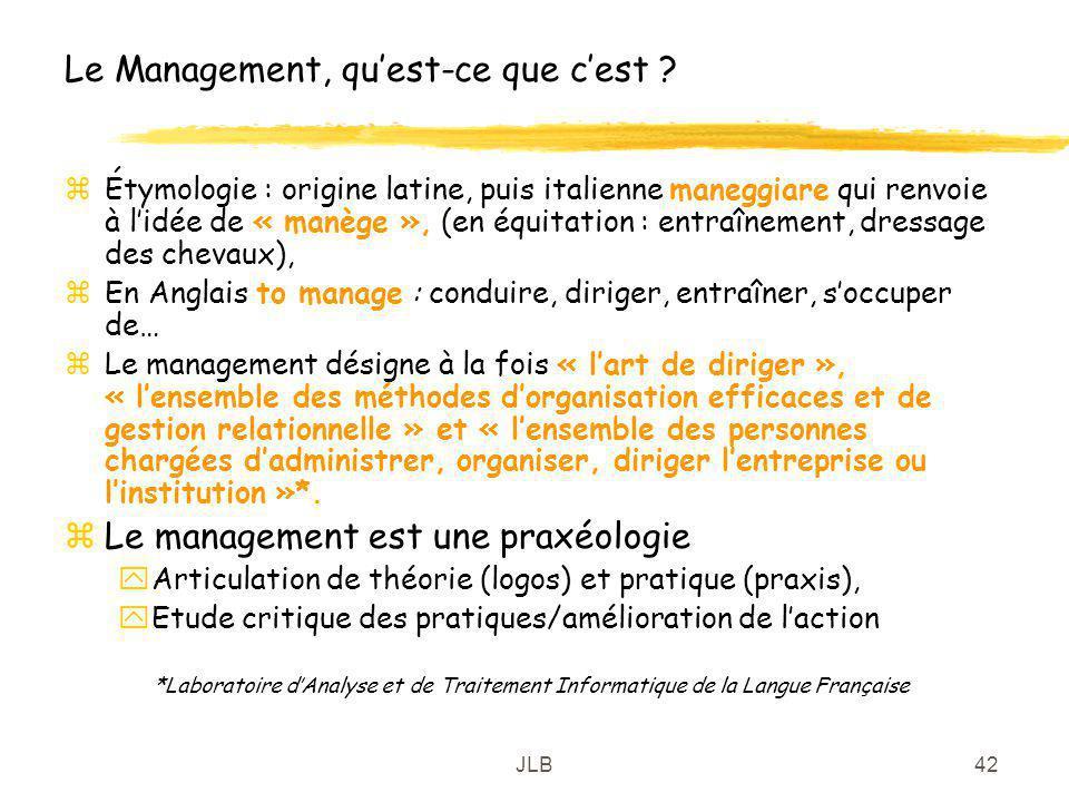 JLB42 Le Management, quest-ce que cest ? zÉtymologie : origine latine, puis italienne maneggiare qui renvoie à lidée de « manège », (en équitation : e