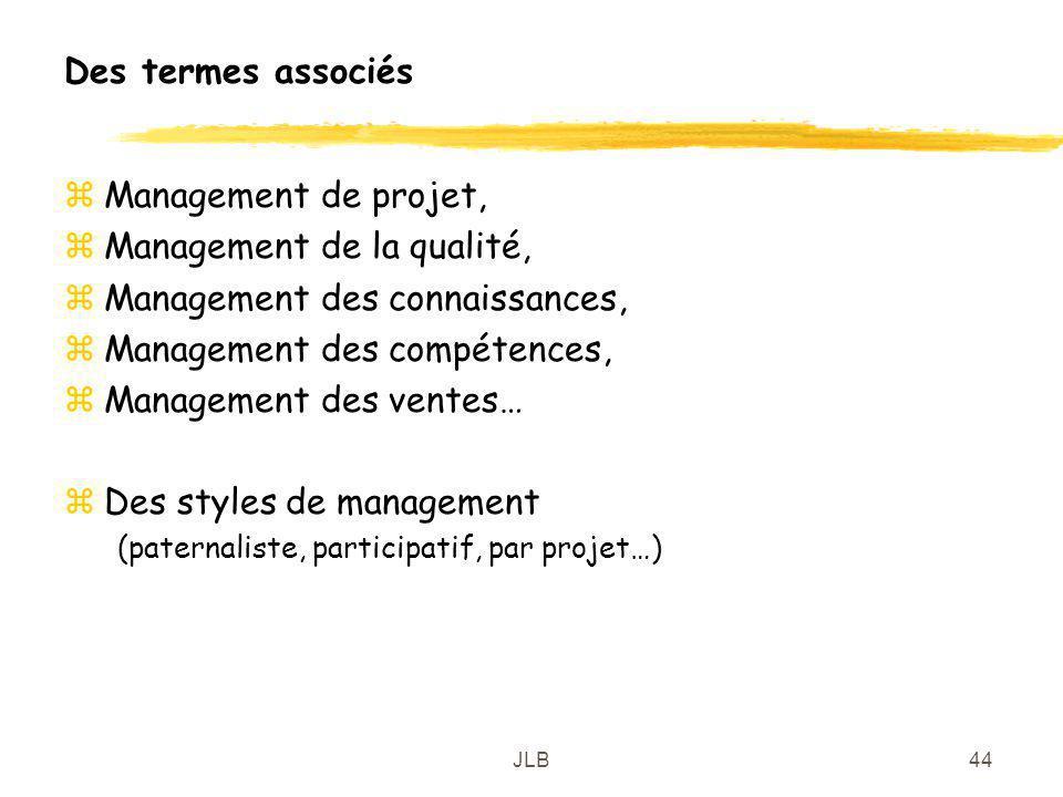 JLB44 Des termes associés zManagement de projet, zManagement de la qualité, zManagement des connaissances, zManagement des compétences, zManagement de