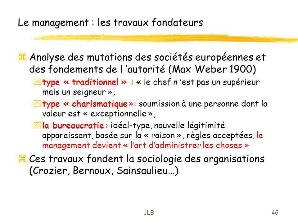 JLB45 Le management : les travaux fondateurs zAnalyse des mutations des sociétés européennes et des fondements de l autorité (Max Weber 1900) ytype «