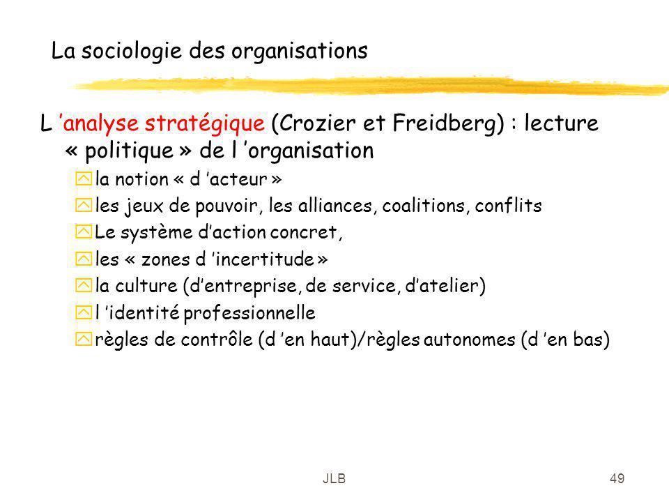 JLB49 La sociologie des organisations L analyse stratégique (Crozier et Freidberg) : lecture « politique » de l organisation yla notion « d acteur » y