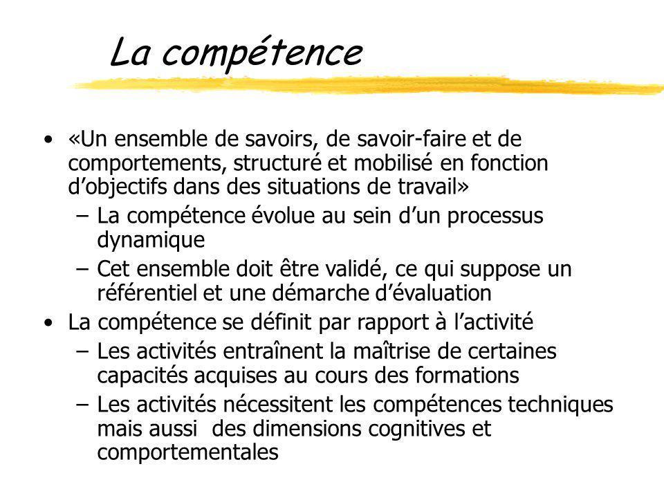 «Un ensemble de savoirs, de savoir-faire et de comportements, structuré et mobilisé en fonction dobjectifs dans des situations de travail» –La compéte