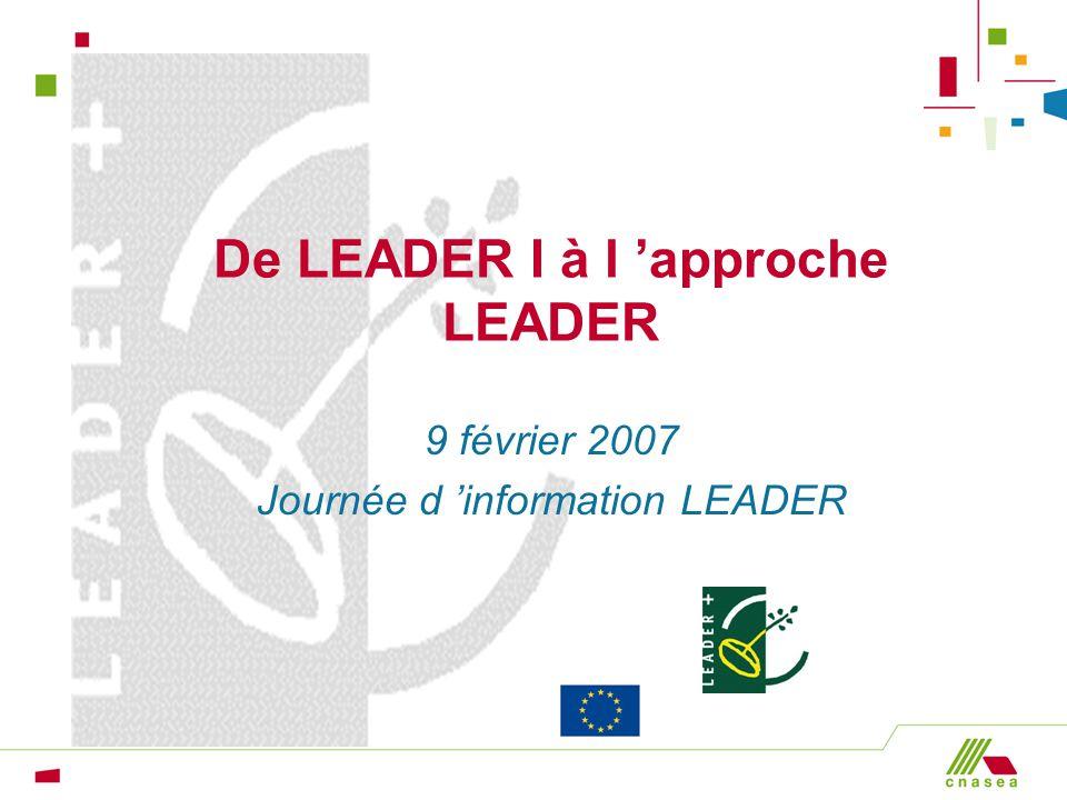 De LEADER I à l approche LEADER 9 février 2007 Journée d information LEADER