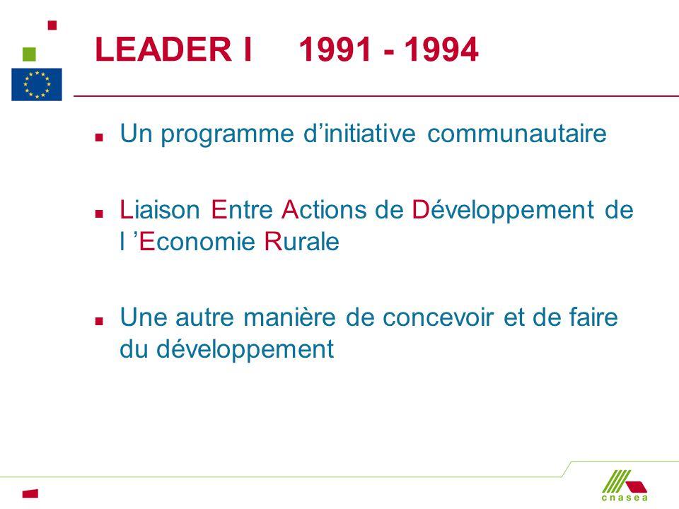 LEADER I 1991 - 1994 n Un programme dinitiative communautaire n Liaison Entre Actions de Développement de l Economie Rurale n Une autre manière de con