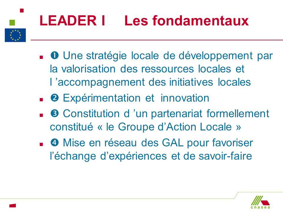 LEADER I Les fondamentaux n Une stratégie locale de développement par la valorisation des ressources locales et l accompagnement des initiatives local