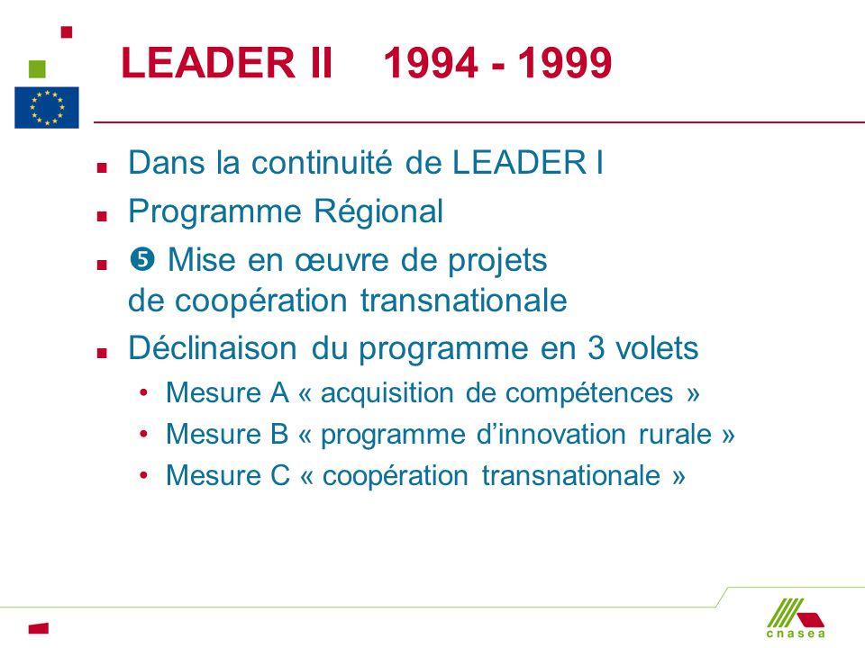 LEADER II 1994 - 1999 n Dans la continuité de LEADER I n Programme Régional n Mise en œuvre de projets de coopération transnationale n Déclinaison du