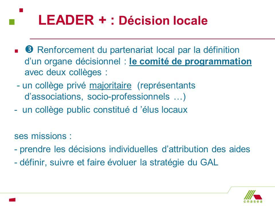 LEADER + : Décision locale n Renforcement du partenariat local par la définition dun organe décisionnel : le comité de programmation avec deux collège