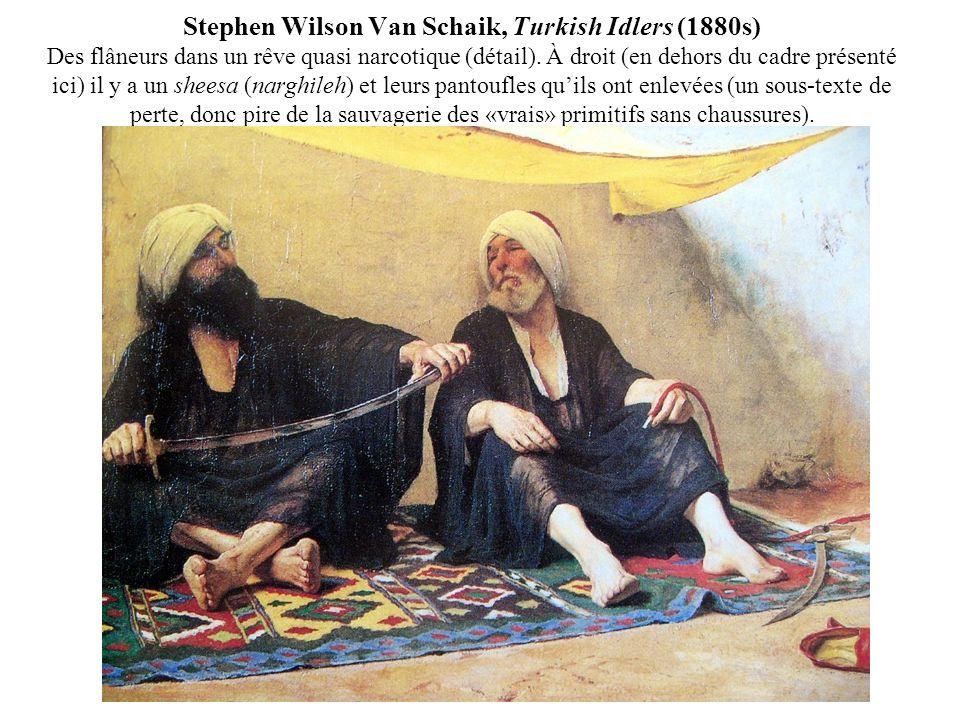 Stephen Wilson Van Schaik, Turkish Idlers (1880s) Des flâneurs dans un rêve quasi narcotique (détail). À droit (en dehors du cadre présenté ici) il y