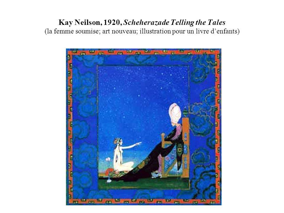 Kay Neilson, 1920, Scheherazade Telling the Tales (la femme soumise; art nouveau; illustration pour un livre denfants)