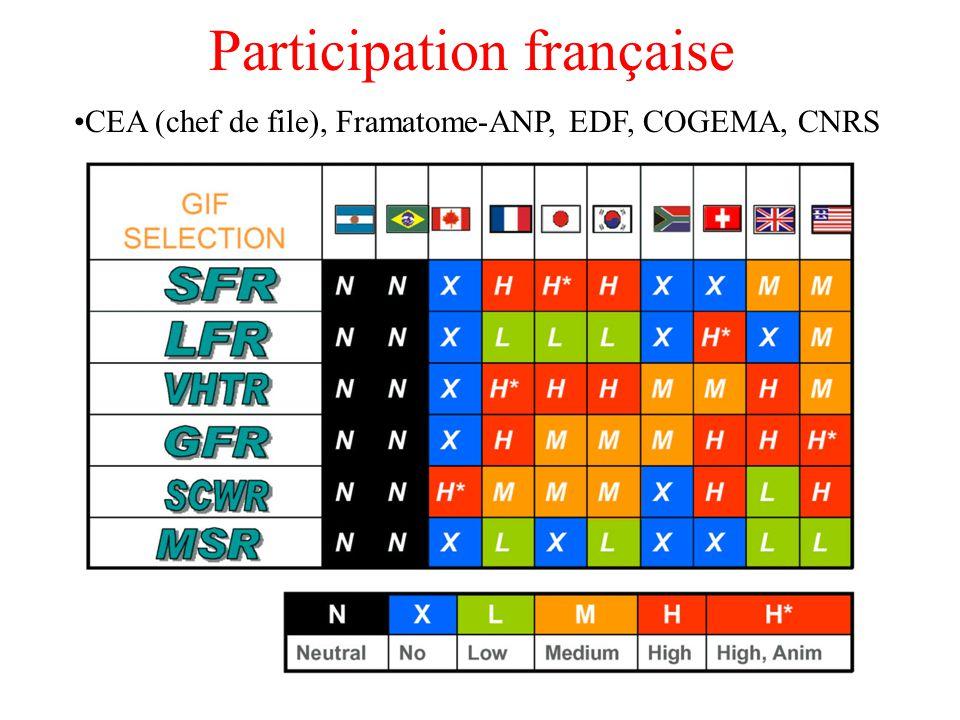Participation française CEA (chef de file), Framatome-ANP, EDF, COGEMA, CNRS