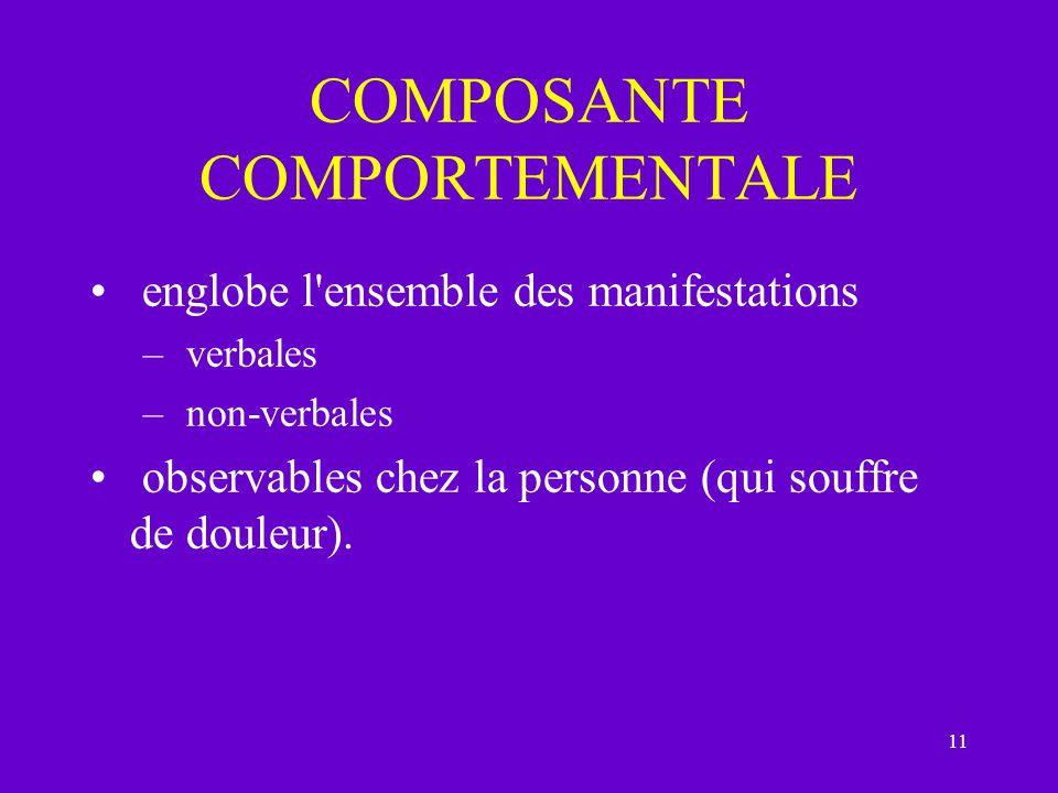 11 COMPOSANTE COMPORTEMENTALE englobe l'ensemble des manifestations – verbales – non-verbales observables chez la personne (qui souffre de douleur).