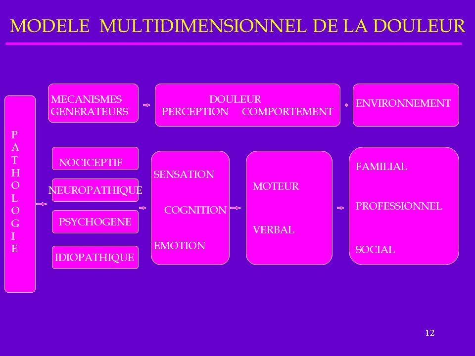 12 MODELE MULTIDIMENSIONNEL DE LA DOULEUR PATHOLOGIEPATHOLOGIE MECANISMES GENERATEURS DOULEUR PERCEPTION COMPORTEMENT ENVIRONNEMENT NOCICEPTIF NEUROPA