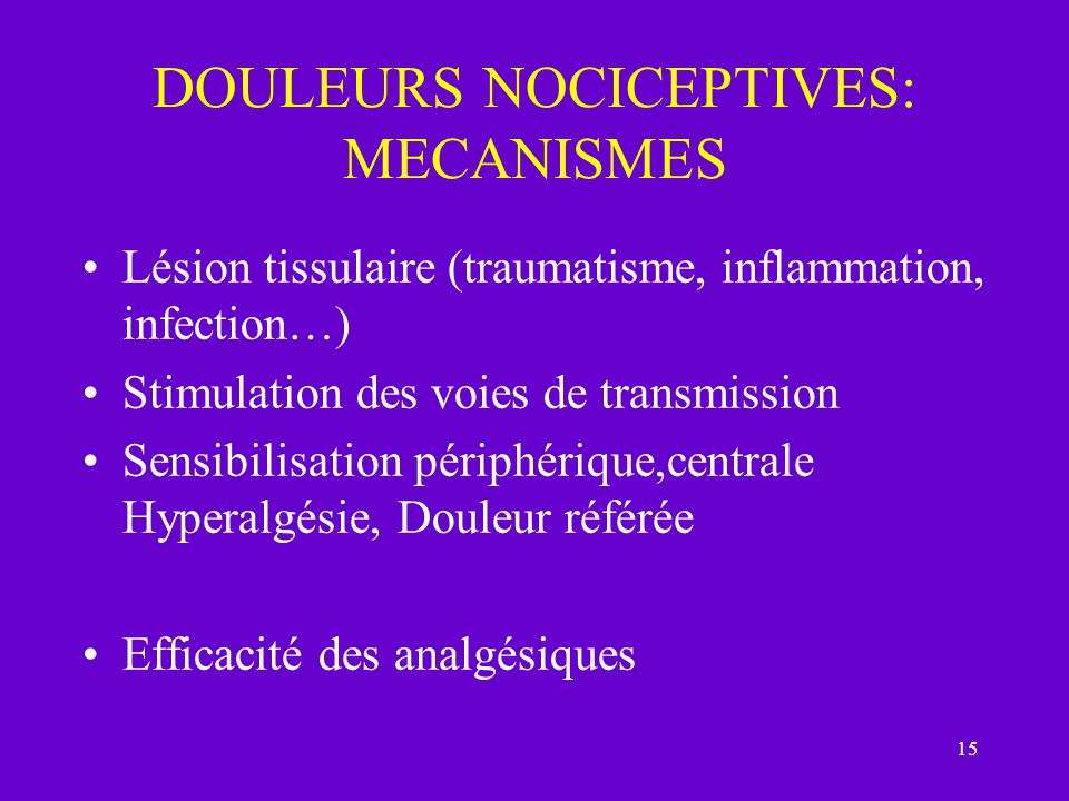 15 DOULEURS NOCICEPTIVES: MECANISMES Lésion tissulaire (traumatisme, inflammation, infection…) Stimulation des voies de transmission Sensibilisation périphérique,centrale Hyperalgésie, Douleur référée Efficacité des analgésiques