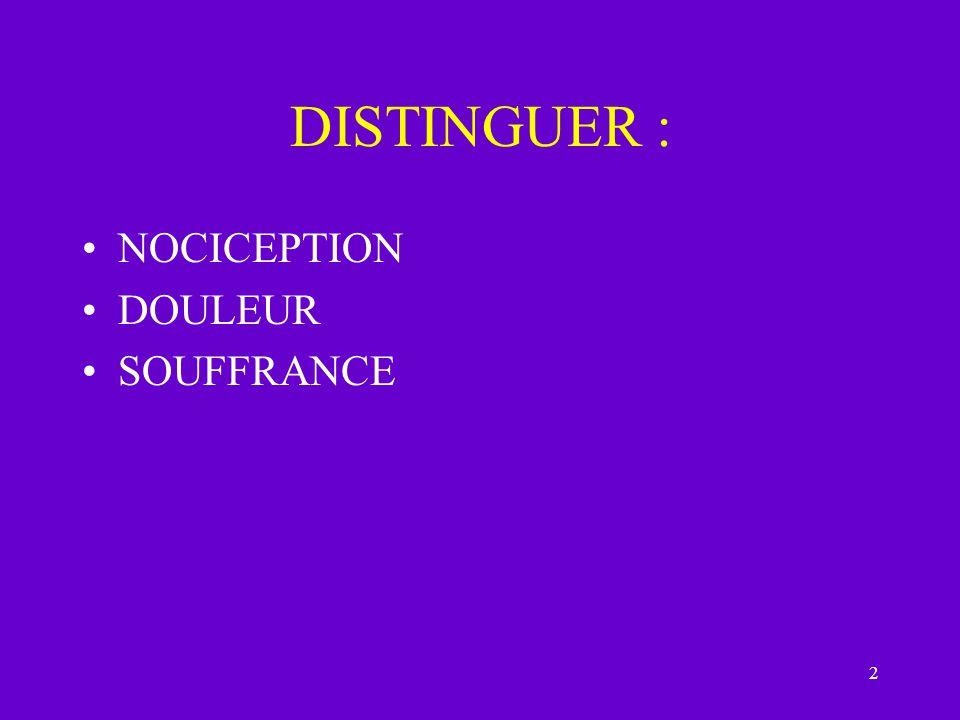 3 NOCICEPTION Sherrington désigne –le système neurophysiologique –qui permet la détection des stimulations intenses –susceptibles de menacer l intégrité de l organisme.