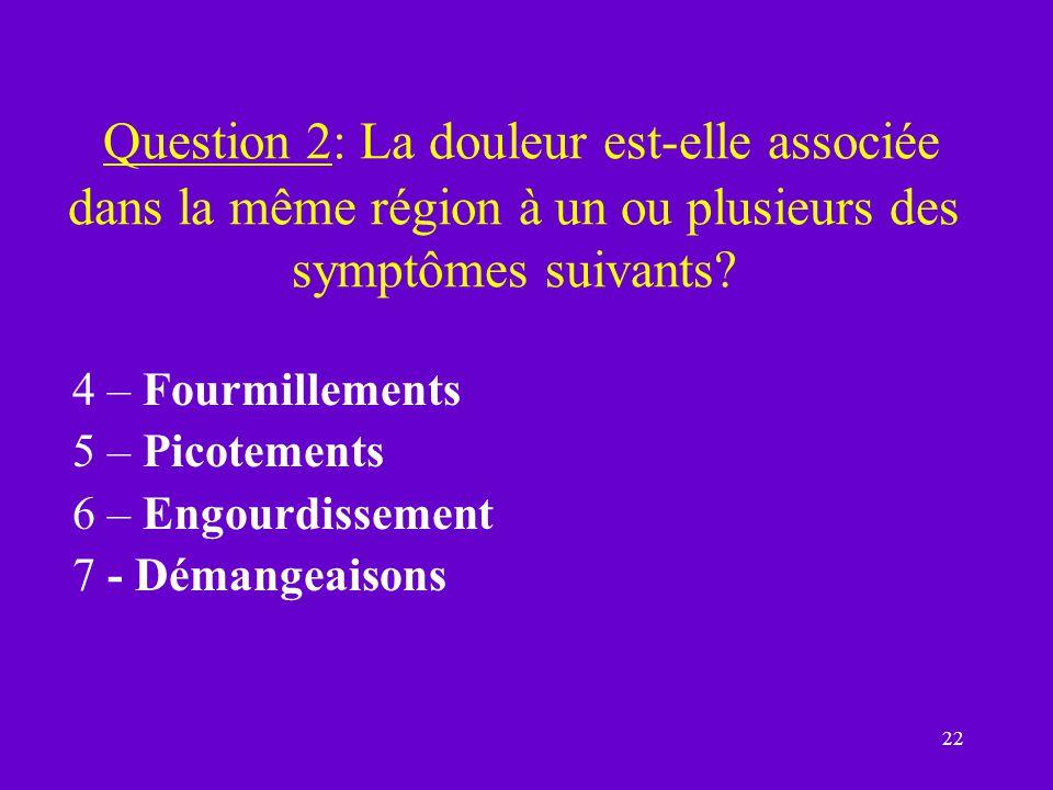 22 Question 2: La douleur est-elle associée dans la même région à un ou plusieurs des symptômes suivants? 4 – Fourmillements 5 – Picotements 6 – Engou
