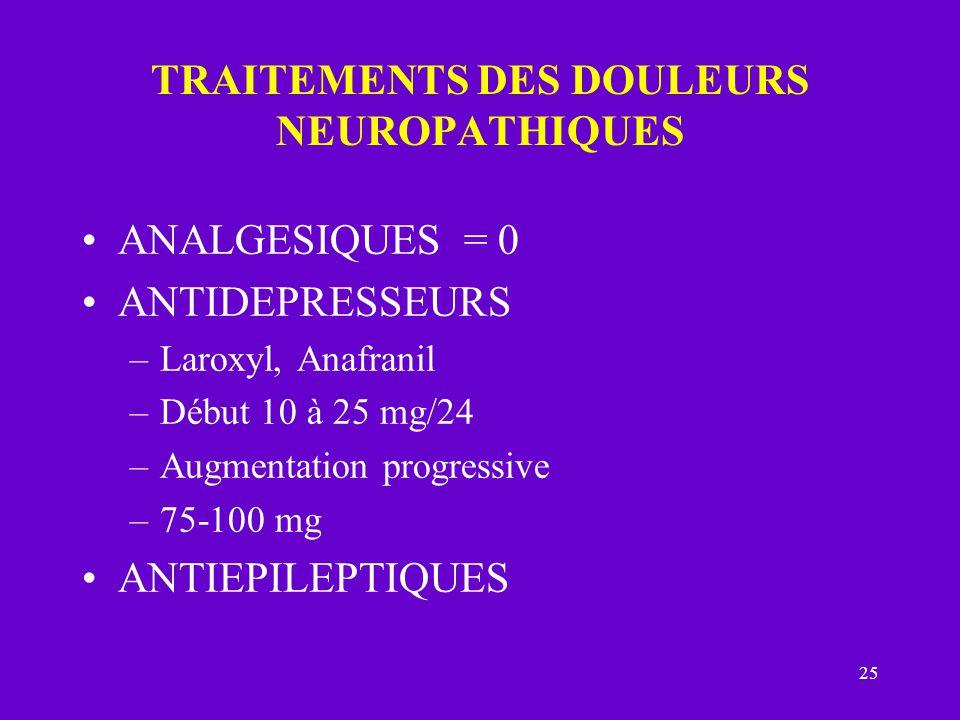 25 TRAITEMENTS DES DOULEURS NEUROPATHIQUES ANALGESIQUES = 0 ANTIDEPRESSEURS –Laroxyl, Anafranil –Début 10 à 25 mg/24 –Augmentation progressive –75-100