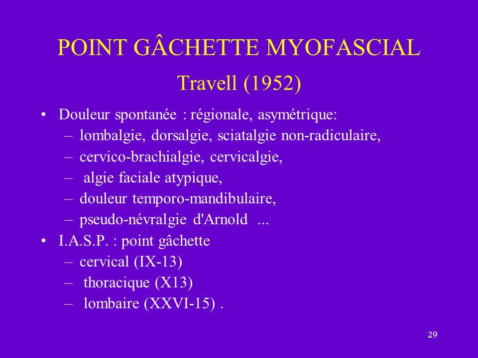 29 POINT GÂCHETTE MYOFASCIAL Travell (1952) Douleur spontanée : régionale, asymétrique: –lombalgie, dorsalgie, sciatalgie non-radiculaire, –cervico-br