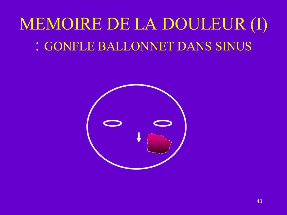 41 MEMOIRE DE LA DOULEUR (I) : GONFLE BALLONNET DANS SINUS
